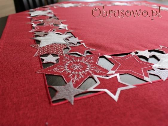 """Serweta świąteczna """"Gwiazdy"""" 85x85 czerwona"""