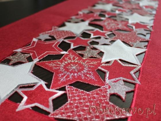 """Długi bieżnik świąteczny """"Gwiazdy"""" 40x140 czerwony"""