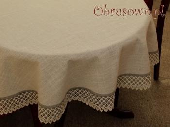 """Owalny obrus """"Koronka len"""" 140x220"""