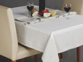 Obrus ART-LEN biało szary 110x160