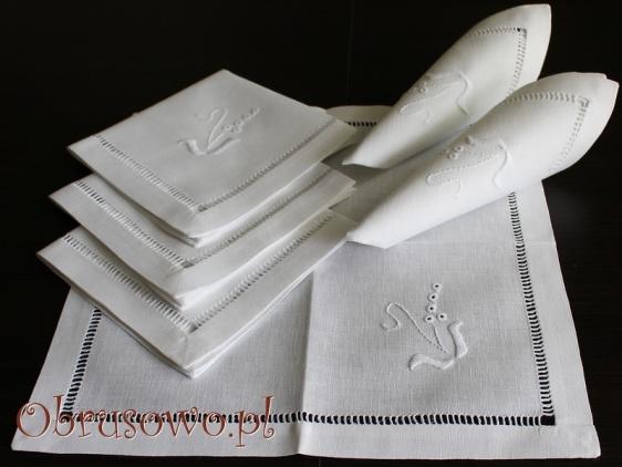 Komplet serwet lnianych z ręcznym haftem 6 szt.