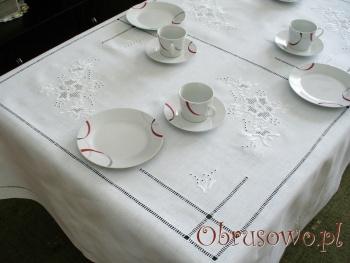 """Obrus lniany haft ręczny """"Róża Makowska""""  140x260"""