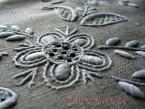 Szary obrus lniany 140x180 haft ręczny