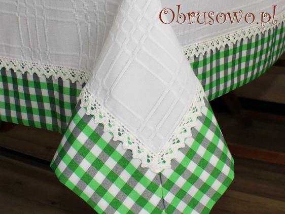 """Obrus """"Prowansja"""" biały z zieloną kratą"""