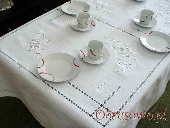 """Obrus lniany haft ręczny """"Róża Makowska""""  140x220"""