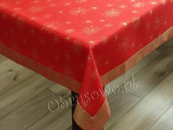 """Obrusy świąteczne """"śnieżynki"""" 140x280 czerwono złote"""