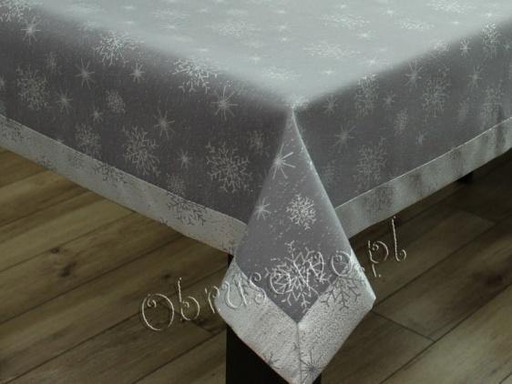 """Obrusy świąteczne """"śnieżynki"""" 140x300 szaro srebrne"""