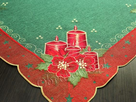 """Świąteczna serweta haftowana 110x110 """"Świece"""" (z)"""