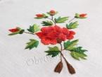 """Obrus z ręcznym haftem """"Czerwone róże"""" 145x310"""
