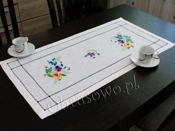 Serweta haftowana ręcznie 45x90 bratki