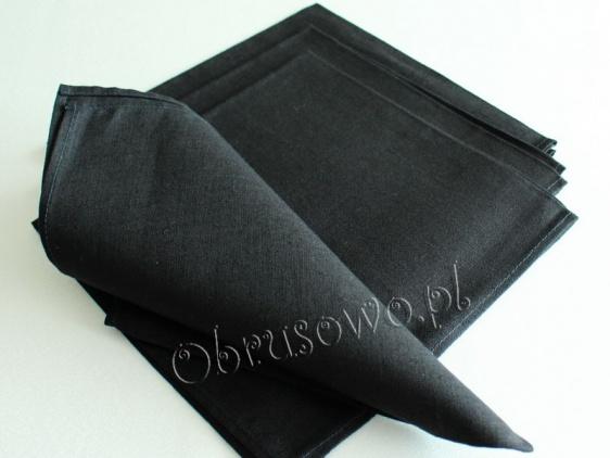Czarne serwety lniane 48x48