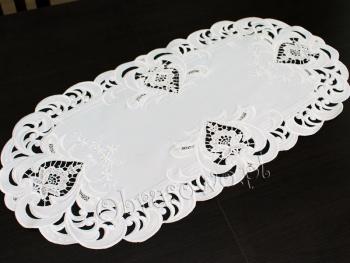 bieżnik haftowany TINA 30x70 biały