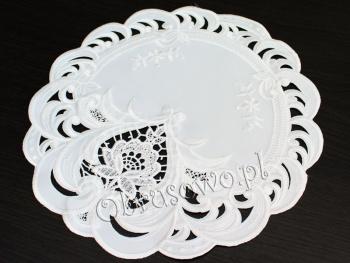 Serwetka haftowana TINA Ø 30 biała