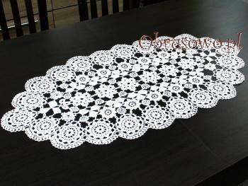 Koronka koniakowski 40x80 biała