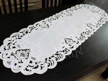 Bieżnik haftowany TINA 40x170 biały