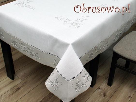 Obrus lnopodobny z haftem 150x300 biało szary