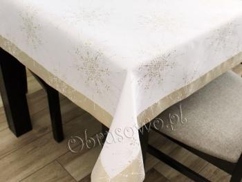 Luksusowy obrus świąteczny 140x350 złoty
