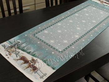 Bieżnik świąteczny gobelin 42x140 jelonki