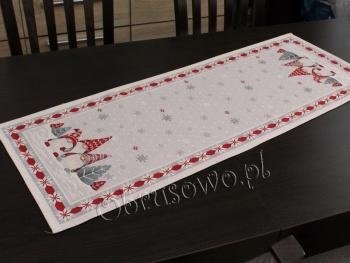 Bieżnik świąteczny gobelinowy 38x100 skrzaty