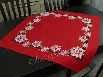 """Serweta świąteczna """"śnieżynki"""" 85x85 czerwona"""