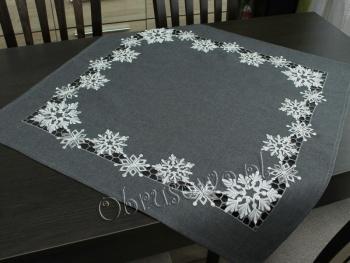 """Serweta świąteczna """"śnieżynki"""" 85x85 grafit"""
