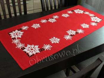 Bieżnik świąteczny ŚNIEŻYNKI 55X120 czerwony