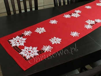 Bieżnik świąteczny ŚNIEŻYNKI 40x160 czerwony