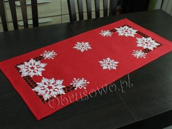 Bieżnik świąteczny ŚNIEŻYNKI 40x85 czerwony