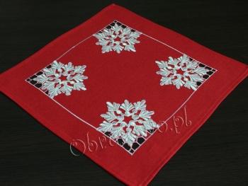 Serwetka świąteczna ŚNIEŻYNKI 40x40 czerwona