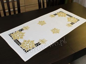 Bieżnik świąteczny ŚNIEŻYNKI 40x85 biały