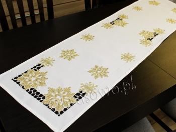 Bieżnik świąteczny ŚNIEŻYNKI 40x160 biały