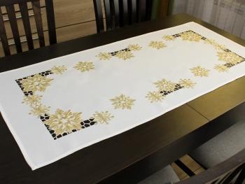 Bieżnik świąteczny ŚNIEŻYNKI 55X120 biały