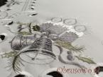 biało srebrna serweta świąteczna 85x85 (W111b)