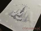 """Bieżnik świąteczny """"kościółek"""" 40x140 - szary"""